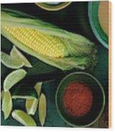 Sweetcorn And Limes Wood Print