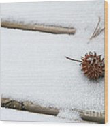 Sweetgum Seed Pod In The Snow Wood Print