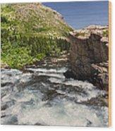 Swiftcurrent River At Many Glacier Wood Print