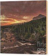 Swiftcurrent River Sunrise Wood Print