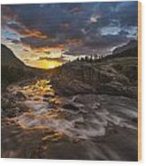 Swiftcurrent Sunrise Wood Print by Joseph Rossbach