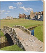 Swilcan Bridge On The 18th Hole At St Andrews Old Golf Course Scotland Wood Print by Unknown