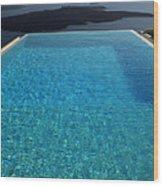 Swim Above The Santorini Island Wood Print
