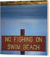 Swim Beach Sign Wood Print