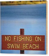 Swim Beach Sign L Wood Print
