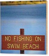 Swim Beach Sign L Wood Print