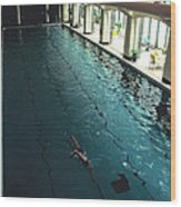 Swimmer In Pool At Banff Lodge Wood Print