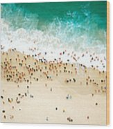 Swimmers Entering The Ocean Wood Print