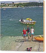 Swimmers On The Slipway - St Mawes Wood Print