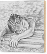 Swimming Girl Wood Print