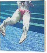 Swimming Girl Under Water Wood Print