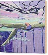 Swimming Wood Print
