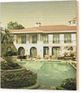 Swimming Pool In Luxury Hotel Wood Print