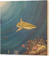 Swimming With Sharks Wood Print