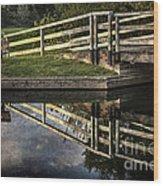 Swing Bridge Reflected Wood Print