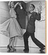 Swing Dancing Couple Wood Print