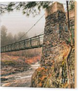 Swinging Bridge Before The Storm Wood Print