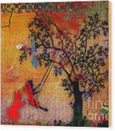 Swinging On A Tree Wood Print