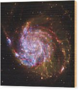 Swirling Red Galaxy Wood Print