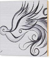 Swirly Sparrow Wood Print