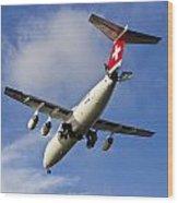 Swiss Air Bae146 Hb-ixw Wood Print