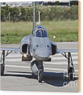 Swiss Air Force F-5e Tiger Recovering Wood Print
