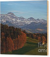 Swiss Alpine Scene Wood Print