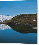 Swiss Alps - Schreckhorn Reflection Wood Print