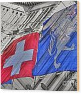 Swiss Flags  Wood Print