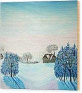 Swiss Opus Blue Christmas Wood Print