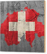 Switzerland Flag Country Outline Painted On Old Cracked Cement Wood Print