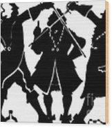 Sword Duel Silhouette  Wood Print