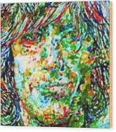 Syd Barrett - Watercolor Portrait Wood Print