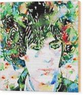 Syd Barrett Watercolor Portrait.1 Wood Print