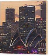 Sydney At Sunset Wood Print