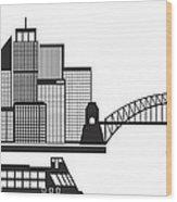 Sydney Australia Skyline Black And White Illustration Wood Print