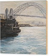 Sydney Ferry Wharves 1950's Wood Print