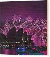 Sydney Fireworks - Purple Wood Print
