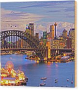 Sydney Harbour Bridge And Sydney Skyline Wood Print