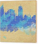 Sydney In Blue Wood Print