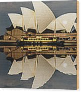 Sydney Opera House With Clouds Wood Print