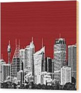 Sydney Skyline 1 - Dark Red Wood Print