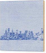 Sydney Skyline Blueprint Wood Print by Kaleidoscopik Photography