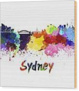 Sydney Skyline In Watercolor Wood Print