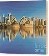 Sydney Skyline With Reflection Wood Print