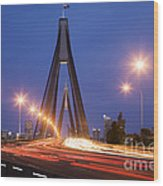Sydney Traffic And Anzac Bridge At Twilight Wood Print by Colin and Linda McKie
