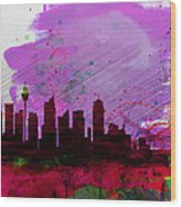 Sydney Watercolor Skyline 2 Wood Print