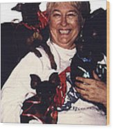 Sylver Short With Her Miniature Pinschers Christmas 2002-2008 Wood Print