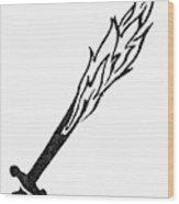 Symbol Flaming Sword Wood Print