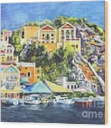 Symi Harbor The Grecian Isle  Wood Print by Carol Wisniewski